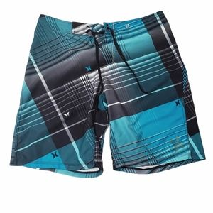 Hurley Blue Plaid Board Shorts Size 34